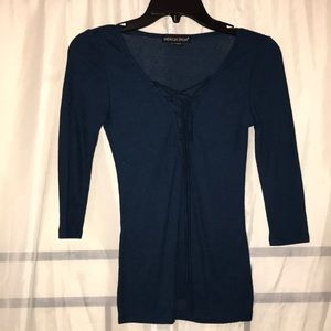 3/4 Sleeve Ribbed Blouse